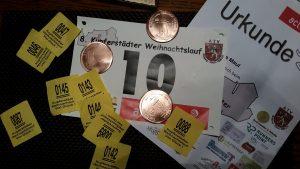 Startnummer, Medaille, Urkunde und Lose (alles Nieten)!