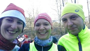 Start-Selfie (Anja, Tanja, Kai, v. l. n. r.)