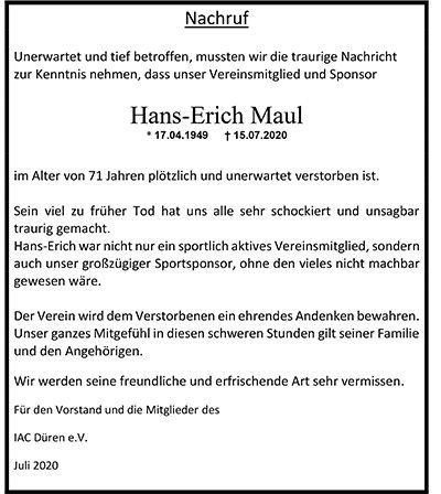 Nachruf Hans-Erich Maul